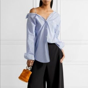 Theory Tamalee Stripe Off Shoulder Button Down Top